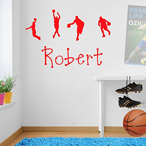 garçons personnalisé Basketball Sport Décoration murale fenêtre Stickers Décoration murale Stickers muraux Décoration murale Stickers muraux Stickers Autocollant mural Stickers panoramique Décor DIY Deco amovible Stickers muraux colorés stickers, Vinyle, Red, Small