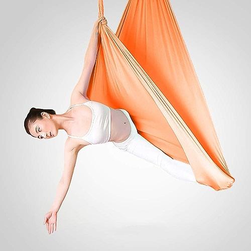 Aerial Hamac de yoga - Swing Hammock Swing Swing de yoga aérien en soie de qualité supérieure avec mousqueton et chaîne en forme de marguerite pour exercices de yoga anti-gravité Pilates ates 5m de lo
