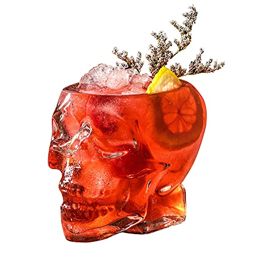Funny skull glass Wine Glass ,Drinking Glass,Gift, Engraved Design,Large Glasses,vodka spirits cup glass ,new Crystal Skull cup ,Halloween Decorations Gifts(350ML)