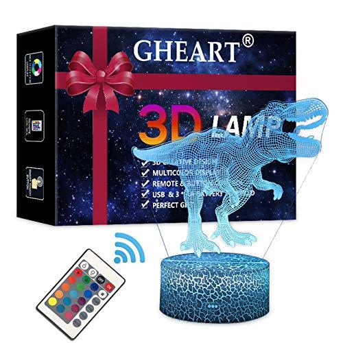 3D Lampe Dinosaurier LED Nachtlicht Illusion Lampe Jungen Kinder Deko Licht Stimmungslicht Nachttischlampe Fernbedienung ändern Touch Switch Schreibtisch Lampen Geburtstagsgeschenk