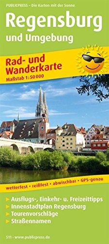 Regensburg und Umgebung: Rad- und Wanderkarte mit Ausflugszielen, Einkehr- & Freizeittipps, Innenstadtplan Regensburg, Straßennamen, wetterfest, ... 1:50000 (Rad- und Wanderkarte / RuWK)