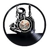 Boba Fett Vinyl Record Wall Clock - Home Room or Living Room Wall Decor - Gift Ideas for Friends, Parents, Teens – Star Wars Unique Art Design