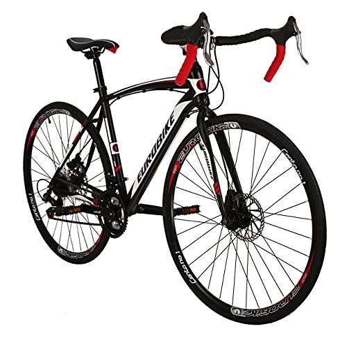 Eurobike Road Bike EURXC550 21 Speed 49 cm Frame 700C Wheels Road Bicycle Dual Disc Brake Bicycle Black-White 30
