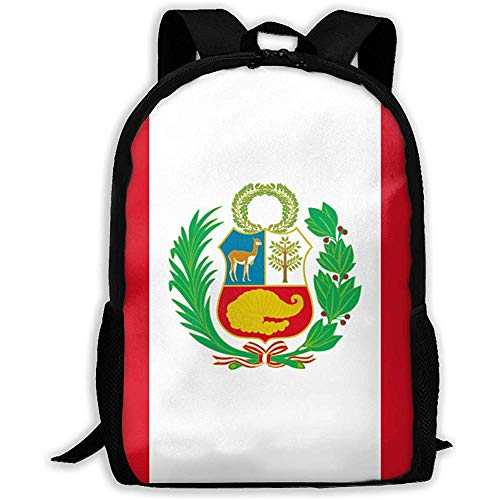 Bolsos De Hombro Ajustables,Bolsa para Portátil,Mochila Multifuncional,Mochila Escolar De Moda,Bolsos Casuales del Libro De La Bandera De Perú, Bolsos Escolares Unisex