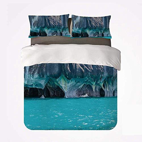 Qoqon Juego de Funda nórdica Turquesa Práctico Juego de 3 Camas, Cuevas de mármol del Lago General Carrera Chile Sudamérica Natural para Dormify