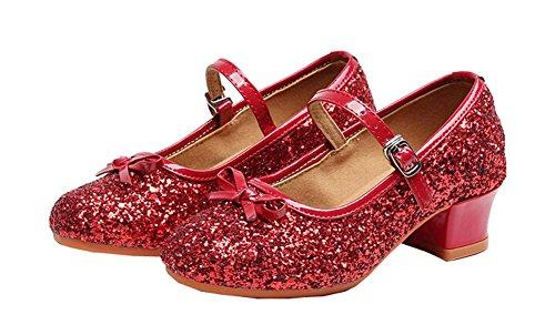 CYSTYLE Prinzessin Schuhe mit Absatz Mädchen Kostüm Ballerina Schuhe - Schleife und Pailletten Karneval Festlich für Kinder (EU 37/Asia 38, Rot)