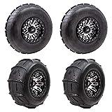 Four TUSK Sand Lite Tires Mounted on Four Tusk Teton Beadlock Wheels and Lug Nuts - 30'x14' - 14 Paddle Rear/Ribbed Front - Polaris RZR XP 1000 Turbo General Ranger (4+3 Wheel Offset, Machined/Black)