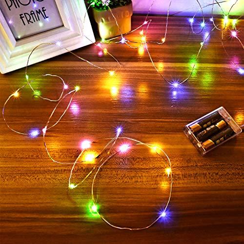 Luces Led a Pilas, Ariceleo 2 Piezas 5 Metros 50 LED Mini LÁMpara Alambre de Cobre Guirnalda Cadena Luces de Navidad con Pilas para Casa Dormitorio Navidad Fiestas Boda DecoraciÓN(Multi-Color)