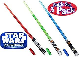 Star Wars Darth Vader, Luke Skywalker & Obi-Wan Kenobi Electronic BladeBuilder Extendable Lightsabers Battle Set Bundle - 3 Pack