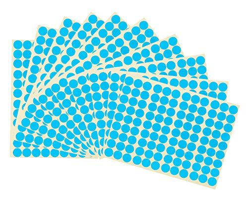 Pegatinas de Puntos Redondos,Puntos Autoadhesivos de 16MM 15 Pack Etiquetas de Círculo de Colores Etiquetas de Codificación para Calendarios de Marcado DVD Libros Escolares Manualidades de Arte Azul