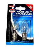 Twin Pack EVEREADY Night Light Spare Bulbs, E12 (12mm Thread Diameter) 7w 220-240v AC, For use with The Eveready Night Light -*SEE NOTE