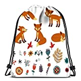 Drawstring Backpack Set Foxes Durable For Carrying Around