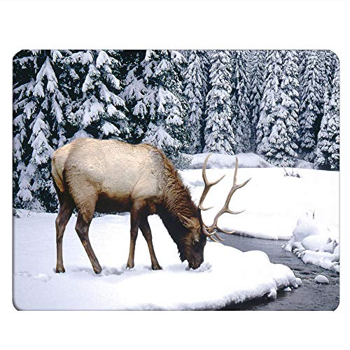 Nicokee Elk Gaming Mousepad Animal World Wildlife The Elk Herds in The Moose Mouse Pad Mouse Mat for Computer Desk Laptop Office 9.5 X 7.9 Inch Non-Slip Rubber