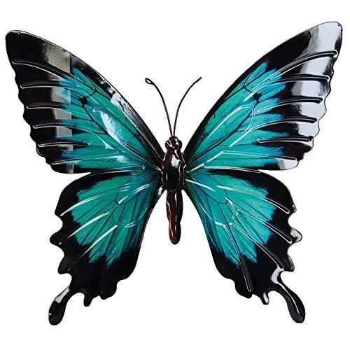 CIM Metall Wand-Deko - Schmetterling Blauer Morpho - 35cm x 25cm - tierische 3D Wandbilder - Wandschmuck inkl. praktischer Wandbefestigung - Handbemalte Wandskulptur