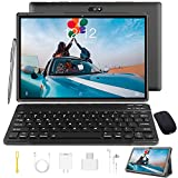 Tablet 10 Inch Tablet PC with Keyboard Android 9.0, Google GMS Certified, 3 GB RAM, 32 GB ROM / 128 GB Expandable, Quad Core, 4G Tablets with SIM Card Slot Unlocked, 8000 mAh, WiFi, Bluetooth, GPS