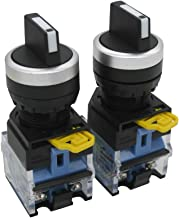 TWTADE / 2Pcs 22mm 2 NO Three 3 - Positions Latching Rotary Select Selector Switch 440V 10A (Quality Assurance for 3 Years) LA38-20X/31