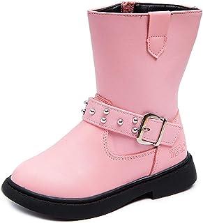 DADAWEN Kid's Girl's Waterproof Buckle Strap Side Zipper Mid Calf Combat Fur Lined Winter Snow Boots (Toddler/Little Kid/B...