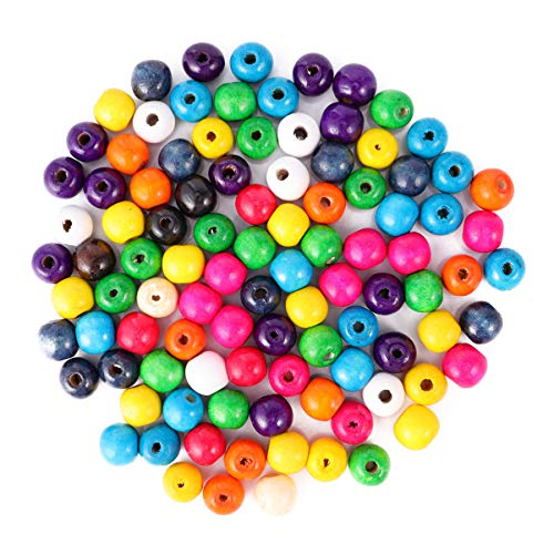 EXCEART 600 Pcs Wooden Beads Colorful Spacer Bead with Holes Loose Beads DIY Supplies for Necklace Jewelry Earings Bracelet Assorted