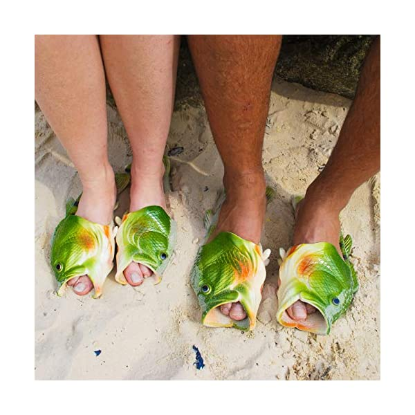 Coddies Fish Flip Flops | The Original Fish Shoe | Unisex Sandals, Bass Slides, Slippers, Pool, Beach & Shower Shoes | Men, Women & Kids (Green | 9-10 Men | 10-11 Women |EU 42-43)