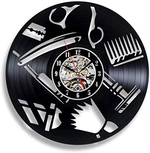 Reloj de Pared de Vinilo Soluciones Hechas a Mano Accesorios de peluquería Reloj de Pared con Disco de Vinilo Decoración de salón Profesional 30 × 30Cm