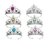 Yeelan Dress Up Tiara Crown Set Accessori per Feste in Costume da Principessa per Bambini/Ragazza/Bambino (6 Pezzi, Giallo + Blu + Verde + Rosa + Bianco + Rosso)