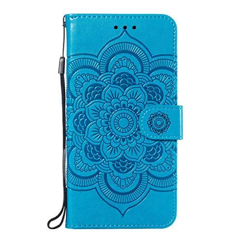 BINGRAN Honor 9X Pro Lederhülle, Mandala-Muster Prägung PU Leder Weich TPU Innen Standfunktion Karteneinschub & Magnetverschluß Schutzhülle Hülle für Huawei Honor 9X Pro -Blau