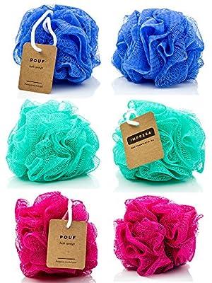 6-Pack Eco-friendly Loofah/Loofa/Mesh Bath and Shower Sponge - Loufa/Luffa/Lufa/Poof/Pouf - Perfect Loofahs/Loofas for Men and Women - Bulk Body Puffs - By IMPRESA
