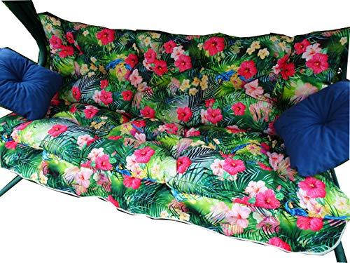 Sitzauflage Für Gartenbank | 4-TLG-Kissenset-Fuer-Schaukel | Auflagen Für Bänke | Gartenbank Auflagen | Auflage für Hollywoodschaukel Gartenbank 175cm (Madagaskar)