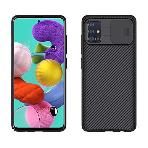 SZAMBIT Funda compatible con Samsung Galaxy A51 4G con funda de cámara deslizante delgada y elegante antideslizante a prueba de arañazos para Samsung Galaxy A51 4G 6.5' (no para A51 5G), color negro