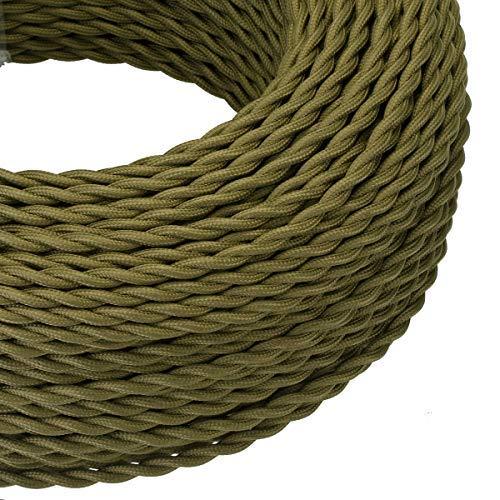 10/5 Meter 3-adriges antikes geflochtenes geflochtenes Kabel aus gewebter Seide für Lampen, flexibles Kabel für elektrische Beleuchtung, Grün