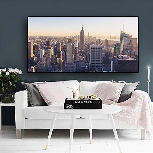 sanzangtang New York Building Manhattan Empire State Art Canvas Poster en afdrukken Woonkamer muurschildering zonder lijst