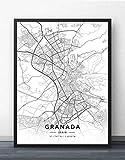 ZWXDMY Impresión De Lienzo,Mapa De La Ciudad De Granada España Negro Blanco Simple Letra Abstracta Línea Lienzo Impresión Póster Mural Pintado Sin Cerco Té Decoración Casa Estudio,70×100Cm.