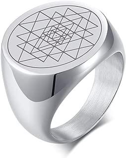 Sri Lanka Yantra River Symbol Punk Biker Stainless Steel Seal Ring for Men