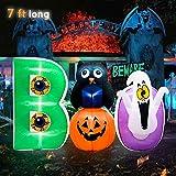 Meland Halloween Boo Scene Inflatable with Owl, Pumpkin and Ghost 7ft - Blow Up Halloween Decorations for Indoor Outdoor Yard Garden