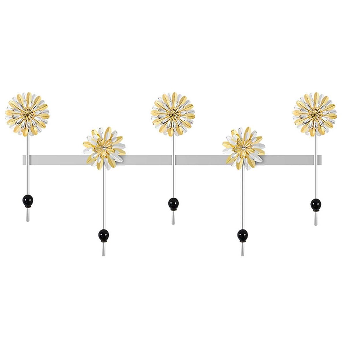 攻撃的相手配管ハンガーラック フックポーチ戸口の壁飾りキーコートラック壁掛けバスタオル掛けリビング寝室 (Color : Yellow, Size : 64cm*5cm*34cm)