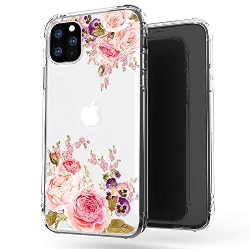 JIAXIUFEN iPhone 11 Pro Max Hülle Handyhülle TPU Silikon Weiche Schlank Schutzhülle Handytasche Flexibel Clear Case Handy Hülle für iPhone 11 Pro Max 2019 6.5 Zoll - Rose Flower