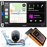 Jensen CAR70V 7' Multimedia Receiver with Apple CarPlay and Android Auto with HD Backup Camera and Gravity Magnet Phone Holder Bundle