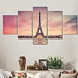 WTYBGDAN HD 5 Piezas Set Modern Paris Torre Eiffel Cuadro de Pintura Ciudad Arquitectura Paisaje Lienzo Pintura Arte de la Pared   40x60 40x80x2 40x100cm / Sin Marco