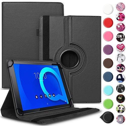 Tablet Hülle kompatibel für Alcatel 1T 10 Tasche Schutzhülle Case Schutz Cover 360° Drehbar 10.1 Zoll Etui, Farbe:Schwarz