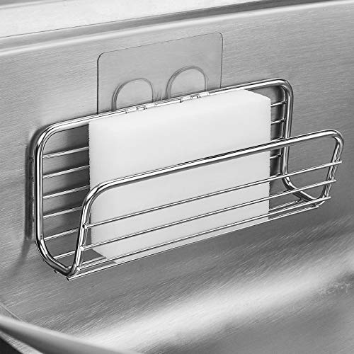 Sponge Holder Sink Caddy for Kitchen Accessories, No Drilling Adhesive ,Rustproof SUS304 Stainless Steel
