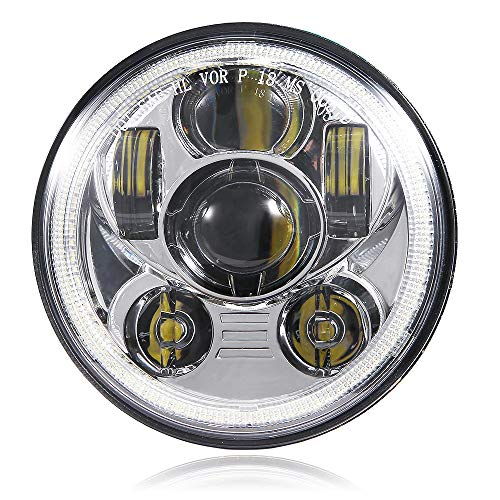 BICYACO 5-3/4 5.75 Inch LED Headlight with Halo DRL for Harley Davidson Dyna Street Bob Super Wide Glide Low Rider Night Rod Train Softail Deuce Custom Sportster Iron 883-Chrome