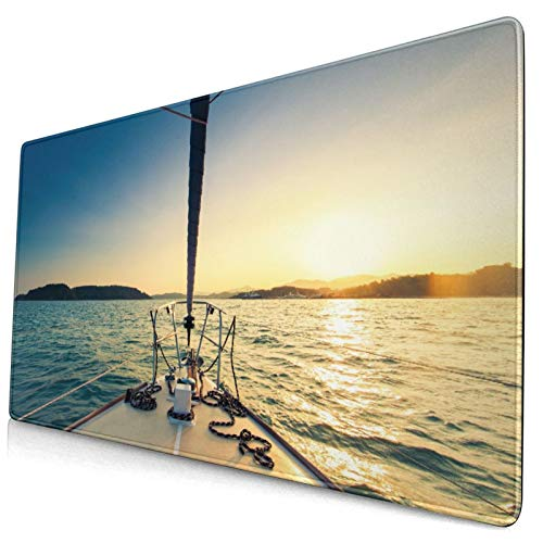 Extended Gaming Mouse Pad Non-Slip Rubber Base,29.5 x 15.8in,Nose of Yacht Sailing in The Sea at Sunset Distant Hills Seaside Sun Ref,Desk Mat with Stitched Edges for Work Game Office Computer Laptop