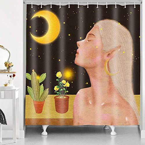 RHDORH YLLMDO29 Feen-Duschvorhang mit langen Haaren, Elfe für Sommer, Nachtsicht, Mond, amerikanische Frau, Polyestergewebe, wasserdicht, Badvorhang-Set mit Haken, 183 x 183 cm