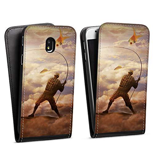 DeinDesign Flip Hülle kompatibel mit Samsung Galaxy J3 Duos 2017 Tasche Schwarz Hülle Fisch Goldfisch Angeln