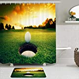 OPQRSTQ-O Juego de Cortinas y tapetes de Ducha de Tela,Sunset Golf Course,Cortinas de baño repelentes al Agua con 12 Ganchos, alfombras Antideslizantes