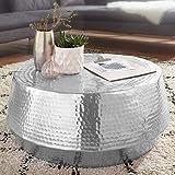 FineBuy Couchtisch MARESH 74x32x74 cm Aluminium Beistelltisch Silber Orientalisch Rund | Flacher Hammerschlag Sofatisch Metall | Design Wohnzimmertisch Modern | Loungetisch Indisch...