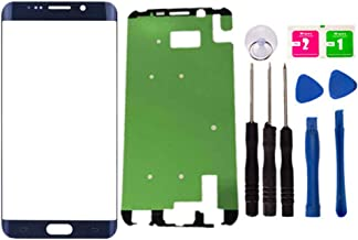 Replacement Repair Front Outer Top Glass Lens Cover Screen for Samsung Galaxy S6 Edge Plus G928F G928T G928P G928V 5.7 inch Mobile Phone Curved Surface Parts with Adhesive Tools Kit (Blue)