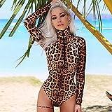 Bodys mit Leopardenmuster Sexy Frauen Langarm Rollkragenpullover Einteiliger Reißverschluss Slim...