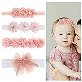 Girls'love talk Baby Stirnbänder, 4 Stück Baby Mädchen Kids Turban Haarband Stirnband Kopfband Baby schmuck, Blumen Blüte Haarschmuck, Babygeschenke Taufe Geschenksets