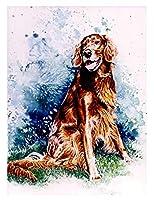 十代の若者たちのための数字で描く数字で描くキットアイリッシュセッター犬DIY数字で描くキットクラフトDIYキャンバスの風景にペイント